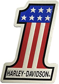 Harley-Davidson Distressed #1 RWB Embossed Leather Emblem Patch, 4 x 2.75 inches