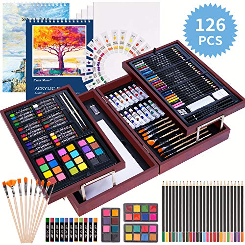 126 Piece Deluxe Art Creativity Set with 2 Drawing Pad, Art Supplies in Portable Wooden Case- Crayons, Oil Pastels, Colored Pencils, Acrylic Paints, Watercolor Cakes, Brushes - Deluxe Drawing Kit