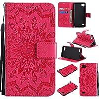 Guran® Funda de Cuero para LG Q6 Plus/LG Q6 Smartphone Función de Soporte con Ranura para Tarjetas Flip Case Cover-Rojo