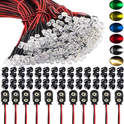 RUNCCI-YUN 60Pcs 5mm Luces LED de Diodo 12V DC Pre Wired LED Diodos Emisores de Luz Lámpara+ 60Pcs 5mm Plástico Soporte de LED Clip Montaje+ 10Pcs Conector de batería de 9V