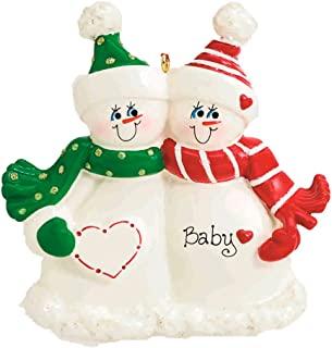Personalized Expecting Snow Family Christmas Tree Ornament 2019 - Pregnant Snowman Heart 1 Child Love Bump New Baby Coming Shower Boy Girl Neutral Gift Year - Free Customization (Expecting Couple)