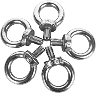 Eowpower 5Pcs Stainless Steel M10 Male Thread Machinery Shoulder Lifting Ring Eye Bolt