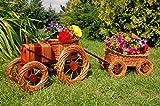 Traktor mit Hänger aus Korbgeflecht, Gesamtlänge ca. 120 cm