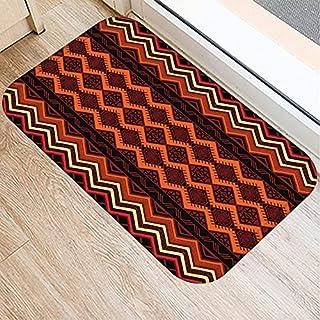 OPLJ Retro Striped Pattern Anti-Slip Suede Carpet Door Mat Doormat Outdoor Kitchen Living Room Floor Mat Rug A13 40x60cm