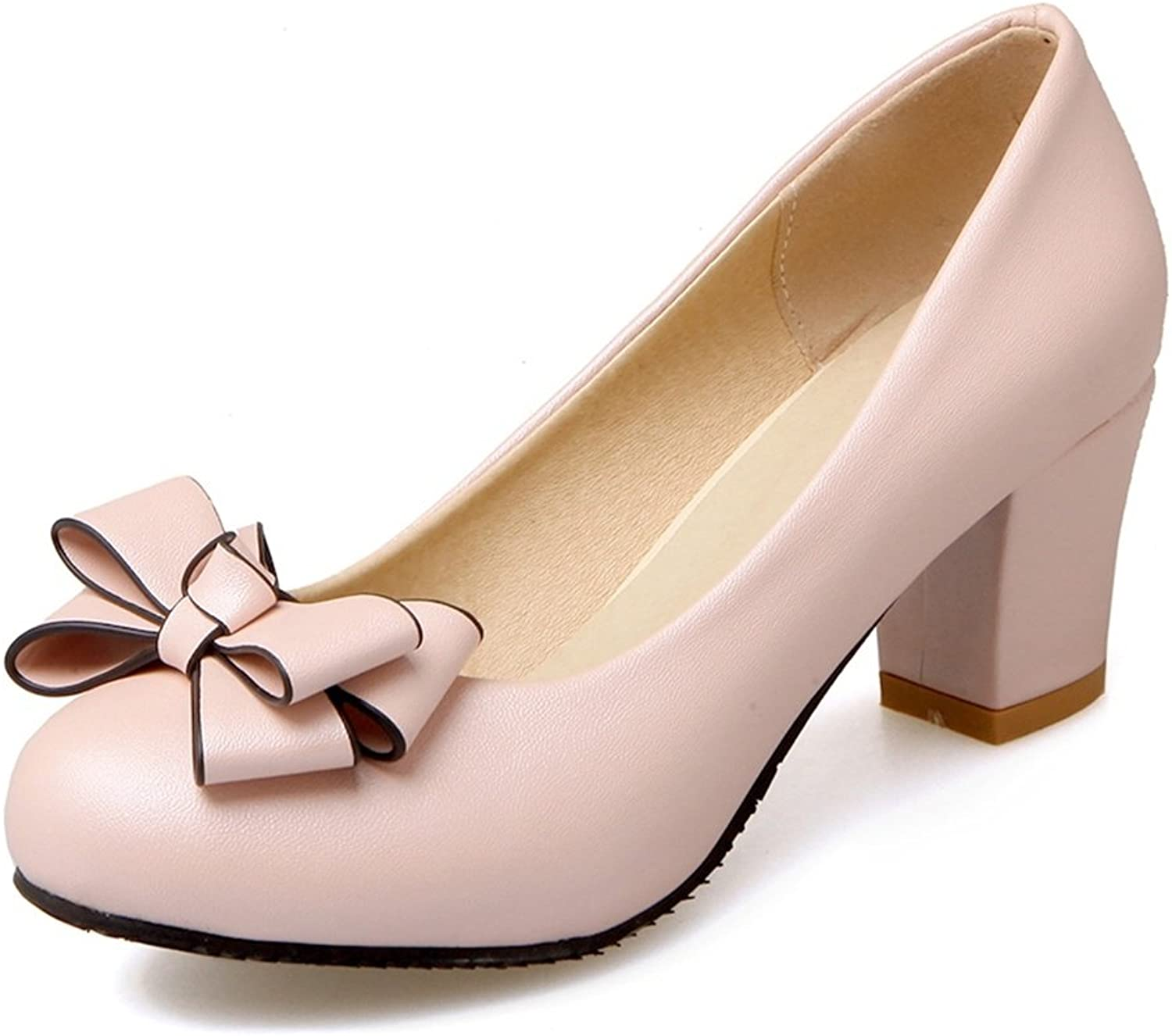 DecoStain Women's Cute Round Toe Bowtie Decoration Slip-on High Chunky Heels Working School Pumps shoes