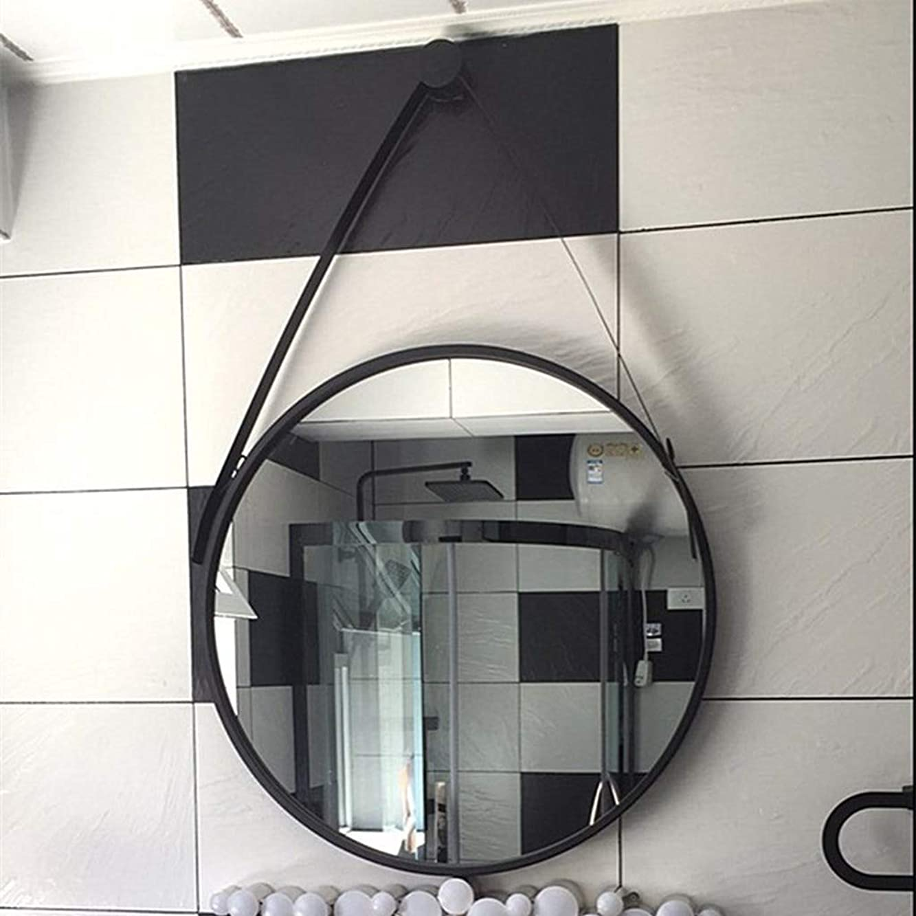 テレビ局鮫はちみつバスルームウォールミラー 80 x 80 cm レトロな丸い化粧鏡 壁バニティミラー ボーダー付きミラー ホワイト/ブラック/ゴールド バスルーム、リビングルーム、ベッドルーム、エントランス。