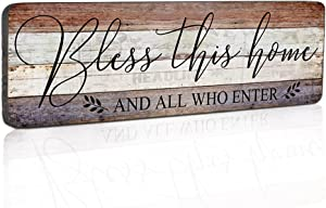 Farmhouse Family Wall Decor Rustic Wood Hanging Wall Art - Bless This Home And All Who Enter - Family Signs for Home Decor Inspirational Quotes for Hallway, Kitchen, Living Room 16
