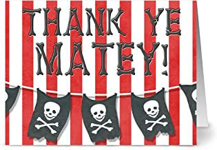Happy Birthday Cards – 36 Pack – Ahoy Matey Thank You – 6 Unique Designs – RED ENVELOPES INCLUDED – Blank Greeting Card – Glossy Cover Blank Inside – By Note Card Café