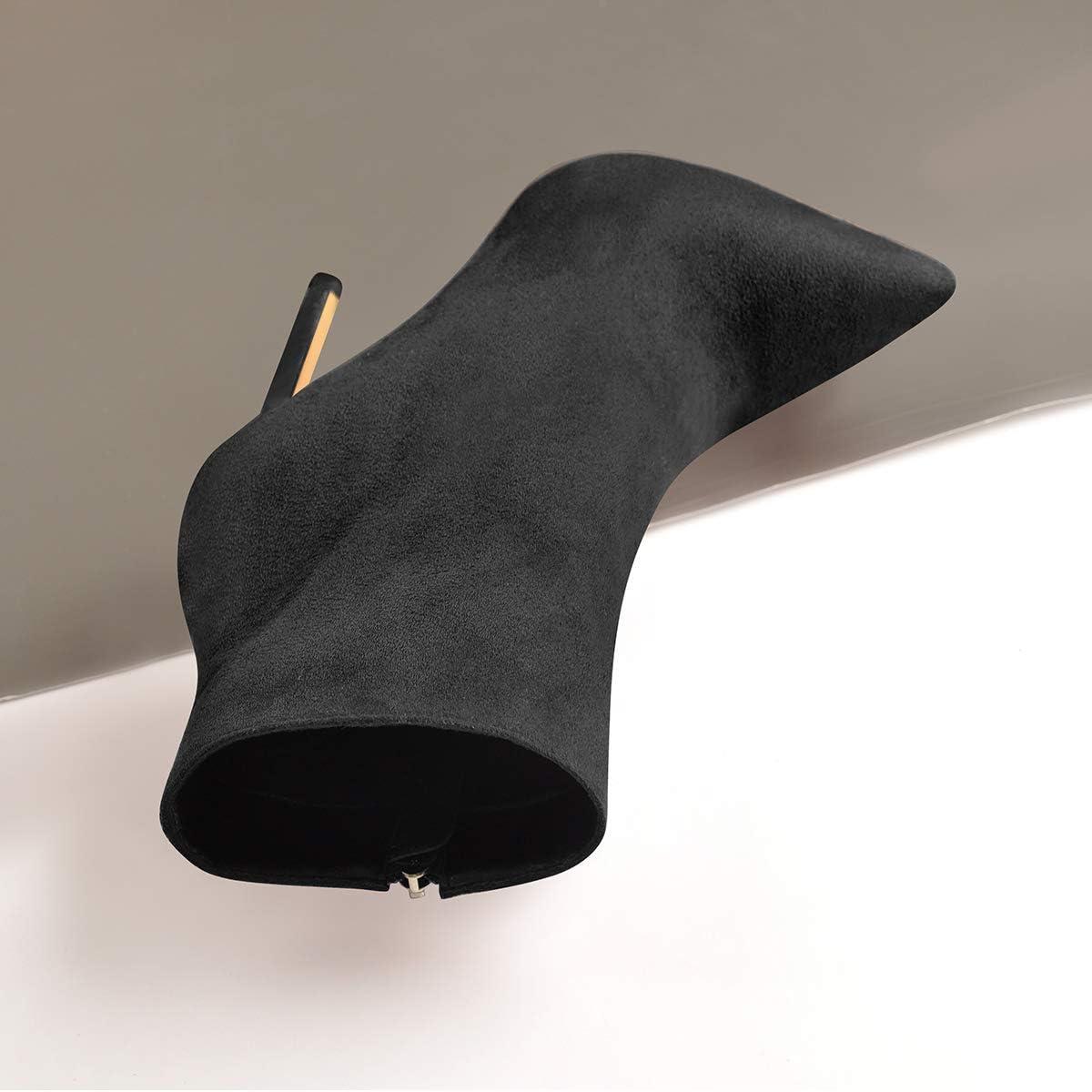 Richealnana Womens Pointed Toe Side Zipper Ankle Booties