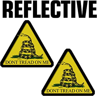 REFLECTIVE Dont Tread Triangle Hard Hat Stickers - 2 Pack #HH032-REF USA Helmet Vinyl Decal Tool box