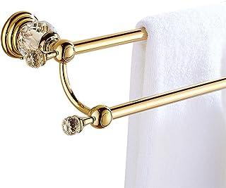 WINCASE クリスタルタオルホルダー ダブル、ゴールドタオルバー 24インチ、バスルーム用タオルラック 壁掛け真鍮