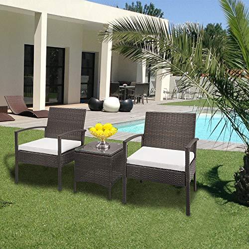 ARONTOME Juego de muebles de jardín, 3 piezas de sofá de ratán, degradado marrón, 2 sillas de brazo y 1 mesa de café