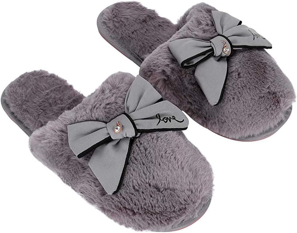 1 year warranty Women's Lovely Fluffy Slippers Winter House Clearance SALE Limited time Comfy Soft