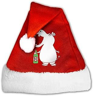 Hippo Drinking Beer. Christmas Santa Hat Christmas Party Caps Decor