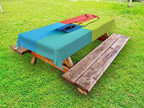 ABAKUHAUS Pastell Outdoor-Tischdecke, Retro-Kamera Hipster, dekorative waschbare Picknick-Tischdecke, 145 x 210 cm, Mehrfarbig