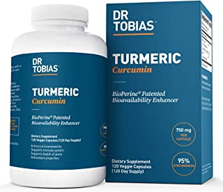 Dr. Tobias Turmeric Curcumin - 15x Strength: 750 mg per Capsule of 95% Curcuminoids Plus Bioperine - 120 Ca...