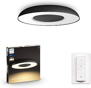 Philips Hue Still Plafón Inteligente LED negro con Bluetooth, Luz Blanca de Cálida a Fría, Compatible con Alexa y Google Home