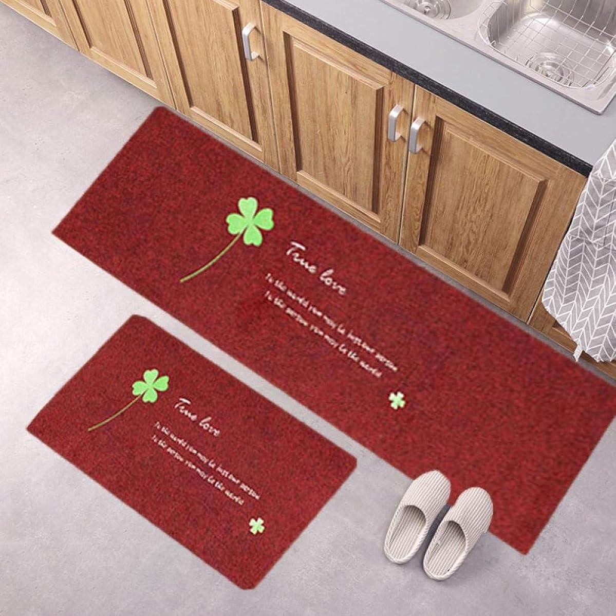 確かめるれる聖なるキッチンマット2枚セット抗疲労 滑り止め 吸水 速乾 洗える 足ふきマット バスマット 台所マット(赤 50x80cm+50x160cm)