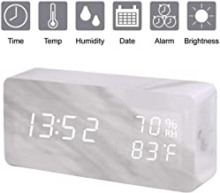 Digital Alarm Clock, Wood LED Adjustable Brightness Voice Control Desk Wooden Alarm Clock with Day/Date/Temperature and Humidity USB/Battery Powered, for Back to School, Home, Office, Kids (White)