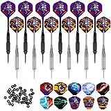 WIN.MAX Dartpfeile,12 Stück Steel Darts Pfeile Set,24 Gramm Profi Steeldarts mit Metallspitze,Darts...