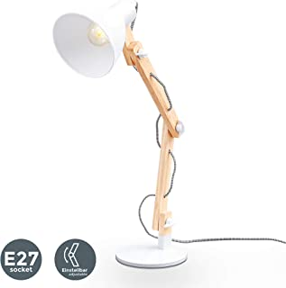 B.K.Licht LED Lámpara de Escritorio de Madera max. 25W 230V I Lámpara de Mesa I Brazo articulado giratorio I Vintage retro design blanco I Desmontable de Madera para Lectura, Estudio, Dormitorio