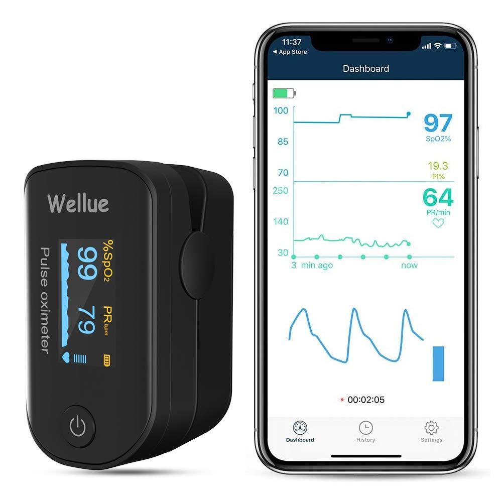 ViATOM Oxímetro de Dedo, Monitor de Nivel de Oxígeno en el Dedo por Bluetooth, Medición del Nivel de Sp-02 y de la Frecuencia Cardíaca, App vía Bluetooth, Dispositivo de SP-O2 para llevar, Negro