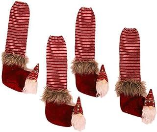 Auch 4pcs Table Leg Cover Santa Claus Chair Leg Foot Covers Non-Slip Floor Protectors Chair Socks Chair Table Christmas De...