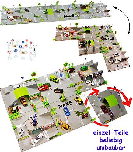 alles-meine.de GmbH Set: XXL 3-D Spielmatte -  Straße UMBAUBAR  - incl. Name - 6 Teile mit Brücke - 1/64 - Tunnel - Tankstelle + Fahrzeug - Feuerwehrstation - Ampel - Stadt - K..
