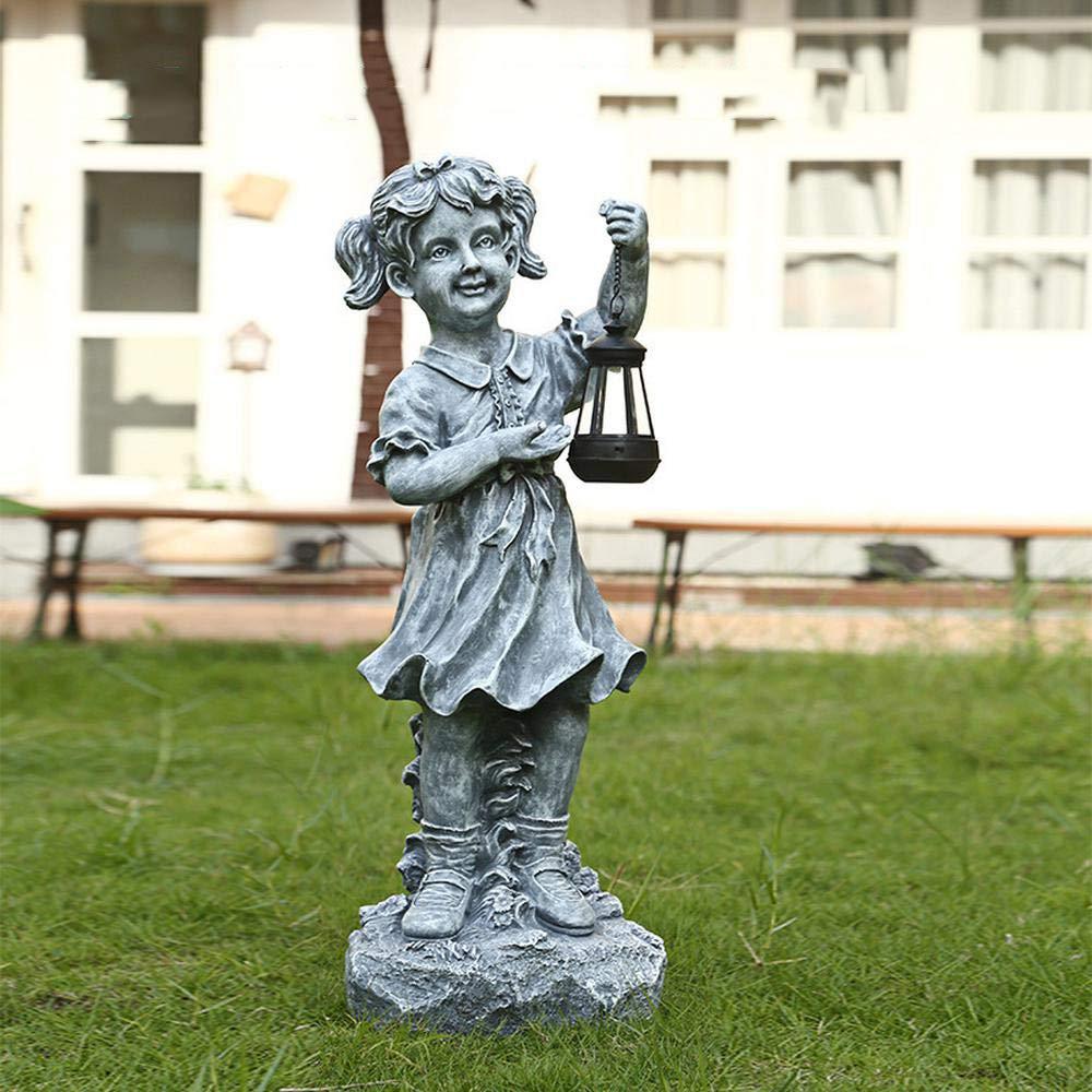 Estatuas para Jardín Ángel De La Niña De La Lámpara Solar De Resina Impermeable Jardín Esculturas para Yard Balcón Adornos 25 * 23 * 68cm: Amazon.es: Hogar