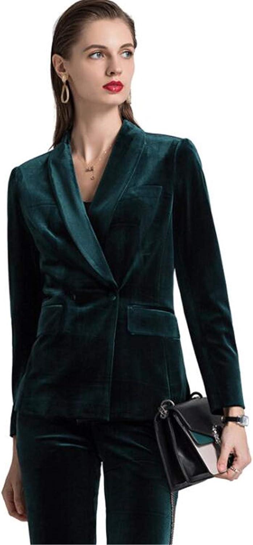 Dark Green Women Velvet Pants Suit 2 Piece Winter Ladies Business Party Outfits