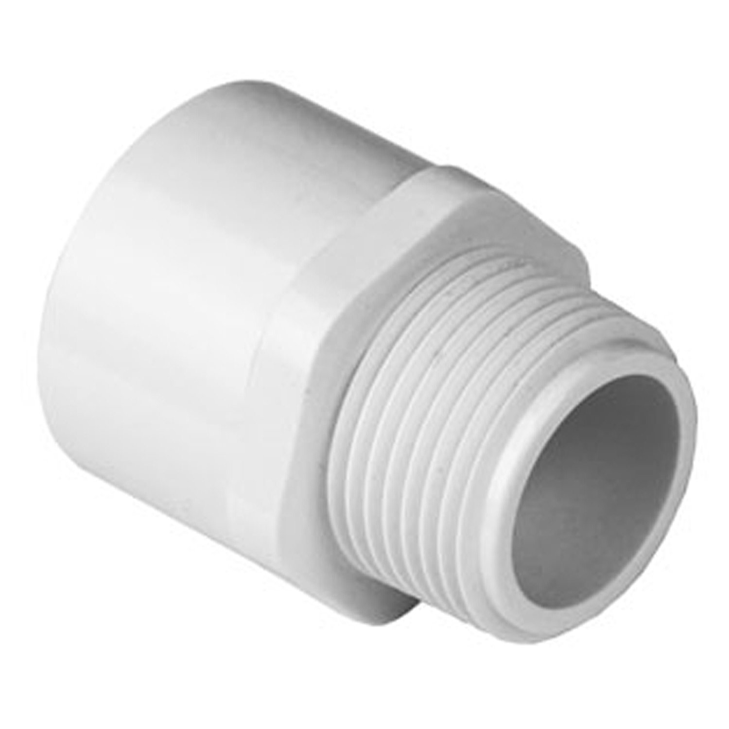 Spears 436 Series PVC Pipe Fitting, Adapter, Schedule 40, White, 1-1/4