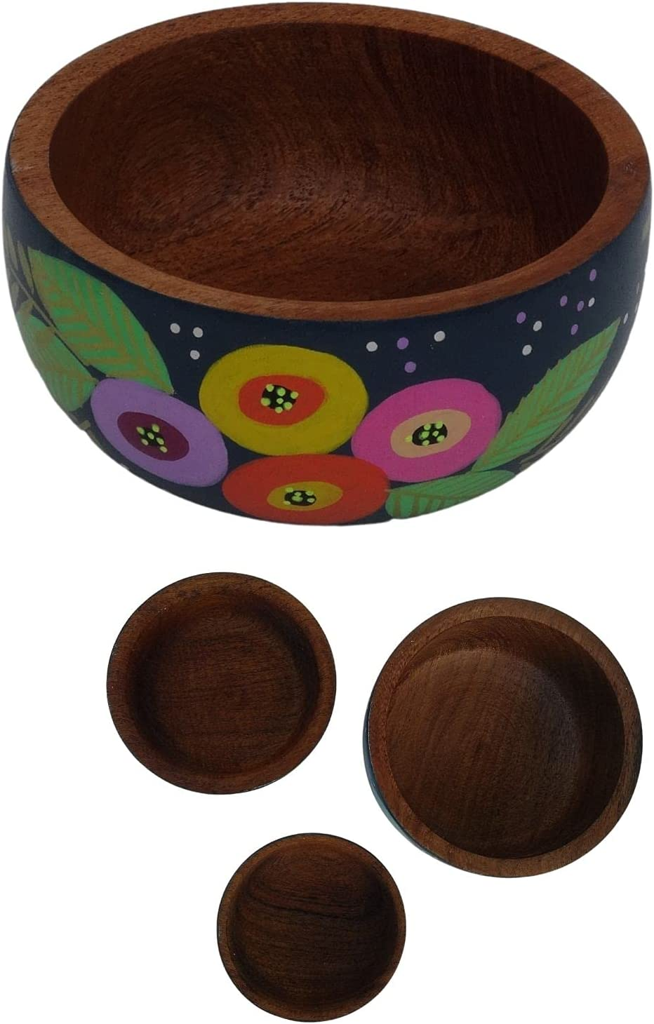 Thunder Solutions Handcrafted Wooden Decorative 3 Set Bowls- Genuine Free Shipping of Max 64% OFF