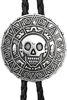 Western Cowboy Skull Bolo Tie Rodeo Neck Ties Genuine Leather Pendant Necklace For Men Women