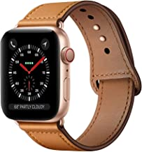KYISGOS Compatible with iWatch Band 40mm 38mm, Genuine Leather Replacement Band Strap Compatible with Apple Watch Series 5 4 3 2 1 38mm 40mm, Camel Brown Band + Rose Gold Adapter
