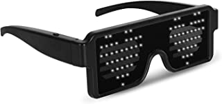 WHITE LED Flash Glasses 8 Adjustable Patterns Luminous Flashing Shades Eye Wear For Birthday Party Corporate Events Raves Music Festivals Nightclubs Concerts Weddings Dancing Group Fitness Great Gift