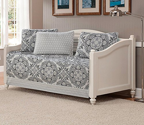 Mk Collection 5pc Day Bed Quilted Cover Set Floral Gray White Black New
