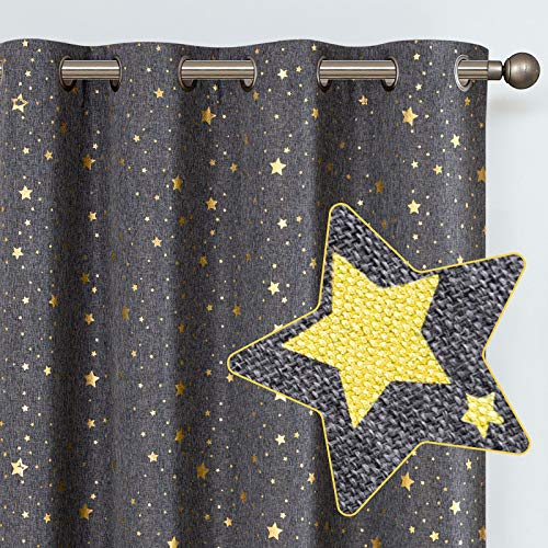 """jinchan Shiny Star Drapes for Baby Nursery Gold on Flax Star Design Blackout Window Curtains Faux Linen Textured Curtains Grommets for Living Room Bedroom 1 Panel 95"""" L Dark Grey"""