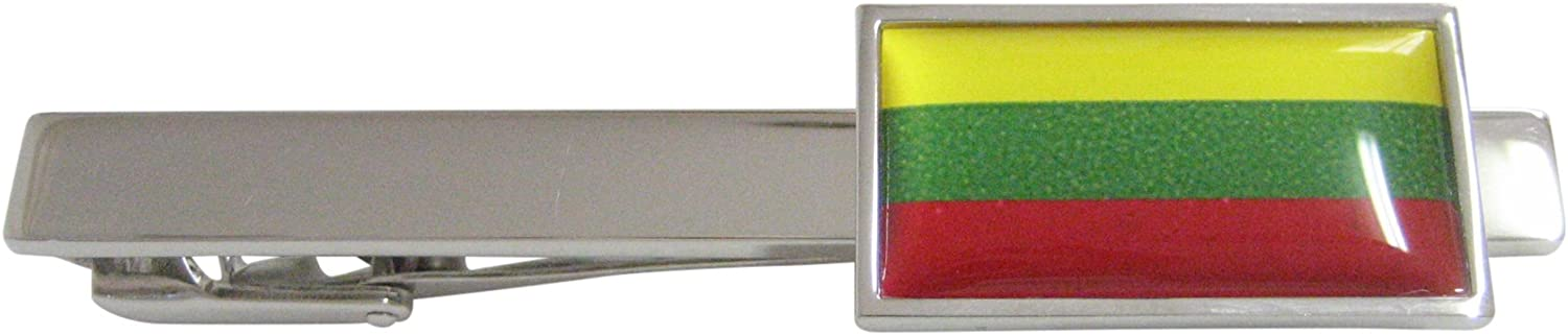 Thin Bordered Lithuania Flag Square Tie Clip