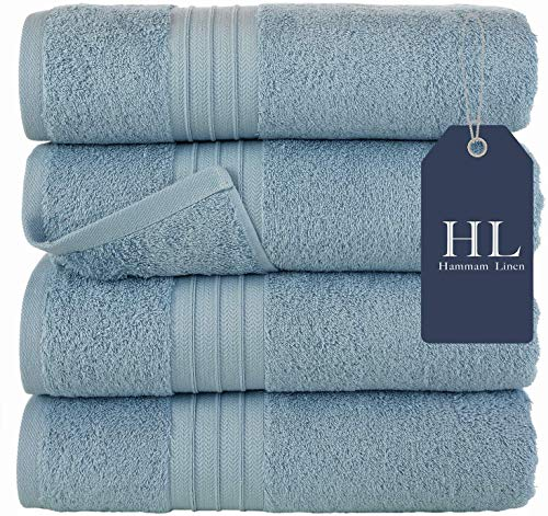 Bath Towels Set, Light Blue- Luxurious 100% Ring Spun Cotton - Quick Dry, Highly Absorbent, Soft Feel Towels, Perfect for Daily Use (4-Pack)