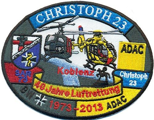 Patch Christoph 23 Koblenz 40 Jahre Luftrettung BW ADAC Hubschrauber Helikopter Aufnäher Abzeichen