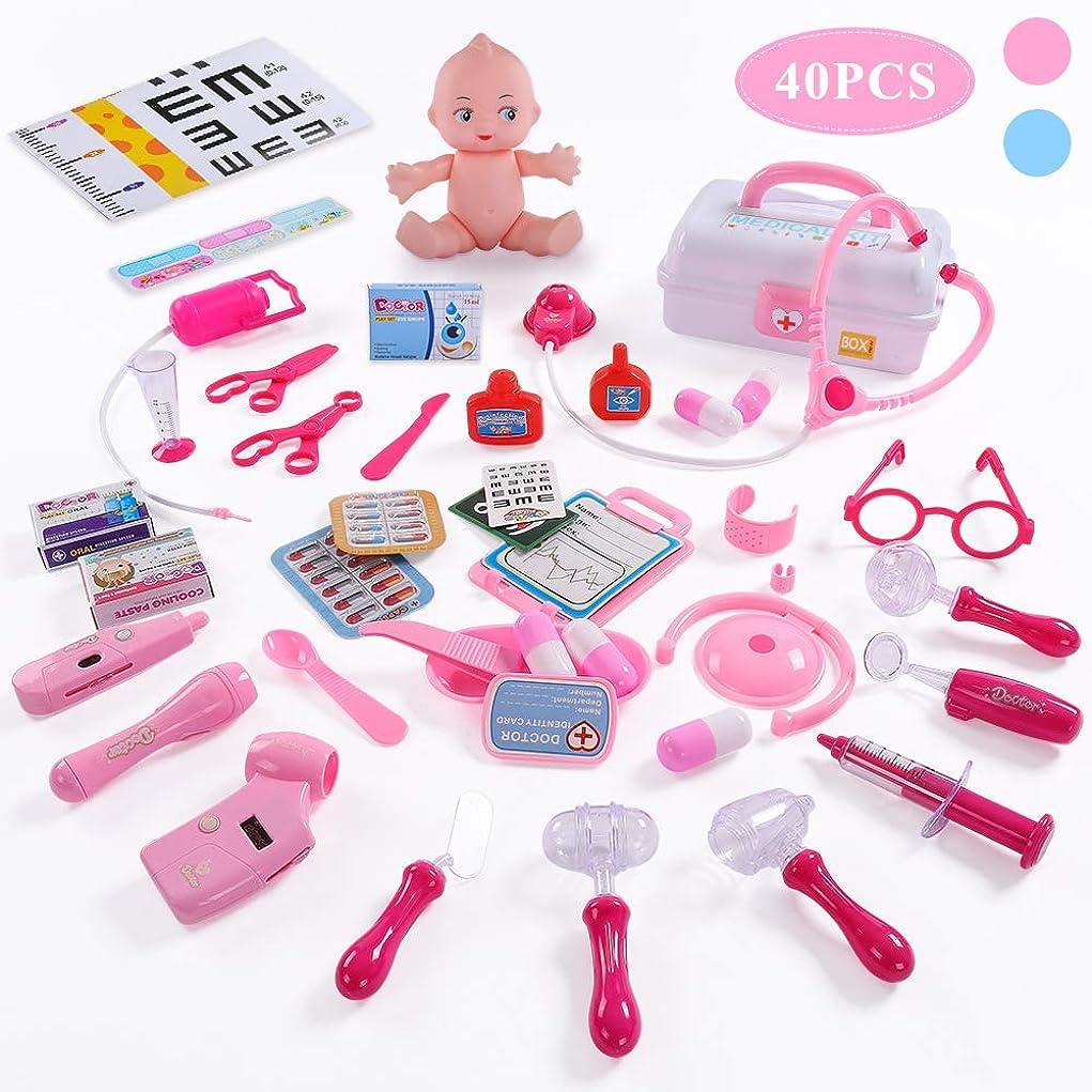 マーカー呪われた等価TEMI 医者セットおもちゃ 医療キットおもちゃ ごっこ遊び 誕生日プレゼント 出産祝い ケース付 40点セット ピンク