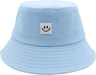 Smile Face Bucket Hat Unisex 100% Cotton Summer Travel Bucket Beach Sun Hat Outdoor Cap
