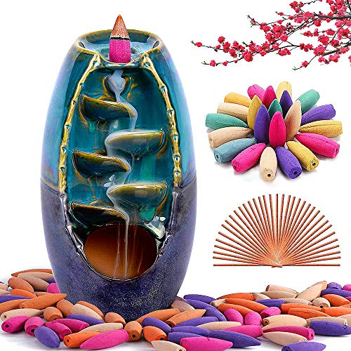 XinXu Incense Burner, Waterfall Incense Holder Ceramic Incense Burner Home Decor Aromatherapy...