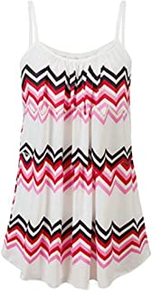 FRPE Women's Summer Spaghetti Strap Printing Plus Size Beach Tank Top Vest Blouse