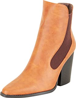 Cambridge Select Women's Pointed Toe Stretch Chunky Block High Heel Ankle Bootie