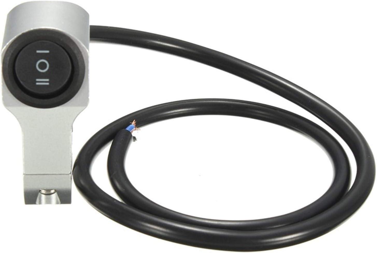 Color : Black Uso a largo plazo 22cm 7//8 pulgadas de aleaci/ón de aluminio manillar de la motocicleta Interruptor de faros de tres posiciones a prueba de agua Interruptor 12V Niebla Spotlight retro