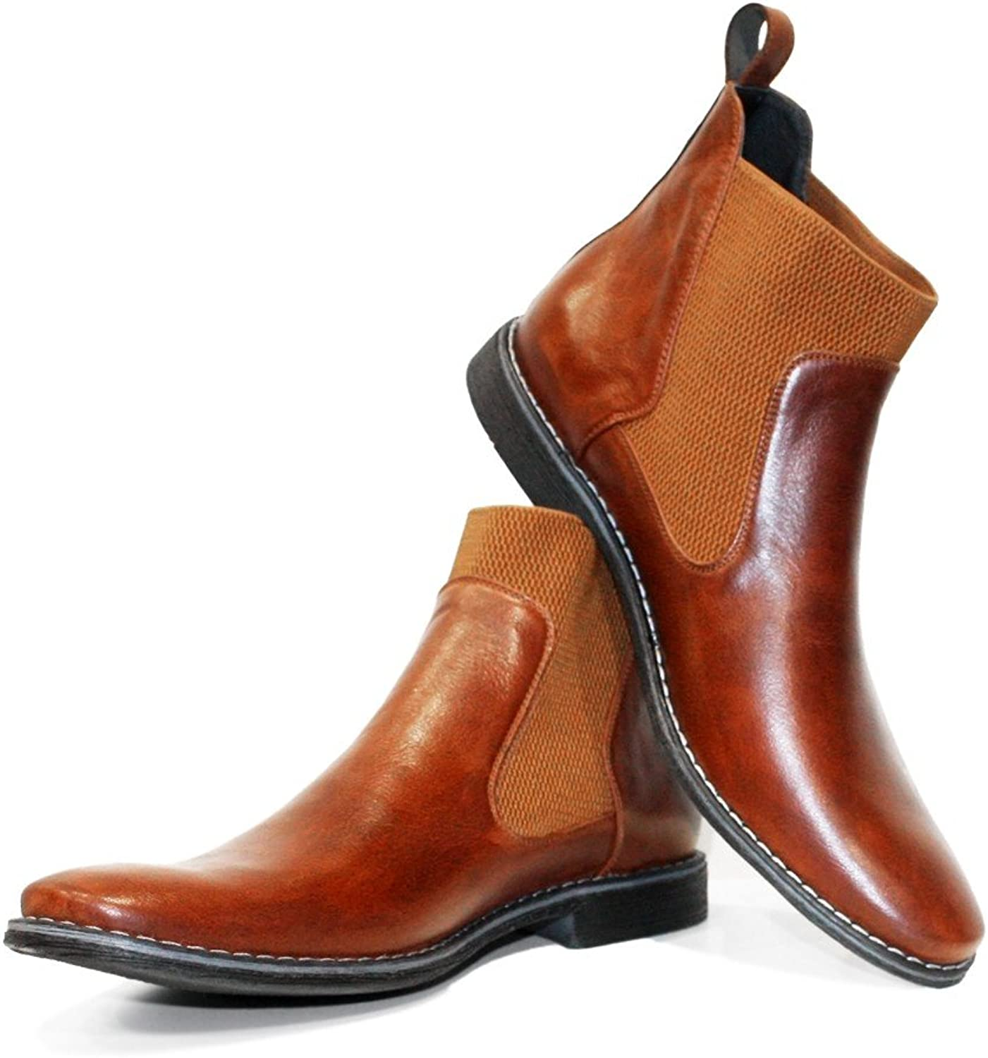 Peppeshoes Modello Kone - Handmade Italian Leather Mens color Brown Ankle Chelsea Boots - Cowhide Smooth Leather - Slip-On