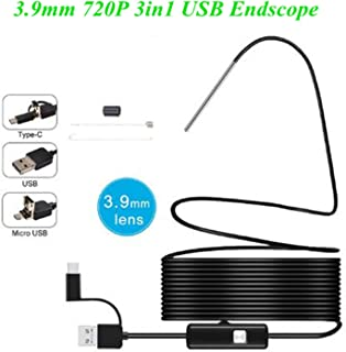 New Landing 3.9mm Lens 720P 3in1Waterproof Borescopes USB Endoscope Car Pipe Snake Camera 3-8cm Focal Inspection Video Recording Photo for Android, Windows Mac Book PC, iOS (1M)