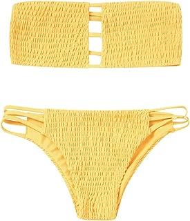 ZAFUL High Waist Bottom Bikini Bathing Swimwear 2 Piece Swimsuits Strapless Triangle