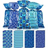 100 Pieces Hanukkah Party Treat Bags, Blue Chanukah Jewish Holiday Theme Candy Present Bags Plastic Clear Cellophane Goodie Favor Bags with 100 Silver Twist Ties for Hanukkah Decorations 2020